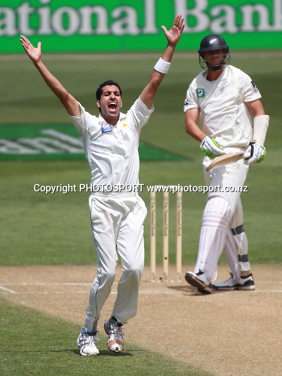 Pakistan bowler Umar Gul appeals successfully for a LBW decision to dismiss Brent Arnel on Day 2 of the 2nd test match.  New Zealand Black Caps v Pakistan, Test Match Cricket. Basin Reserve, Wellington, New Zealand. Sunday 16 January 2011. Photo: Andrew Cornaga/photosport.co.nz