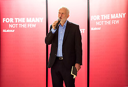 © Licensed to London News Pictures.  11/08/2017; Bristol, UK. JEREMY CORBYN, Leader of the Labour Party, arrives and speaks to Labour Party members at the BAWA Club in Filton, Bristol. There was a small pro-EU demonstration outside as a car carrying Jeremy Corbyn left after the event. Picture credit : Simon Chapman/LNP