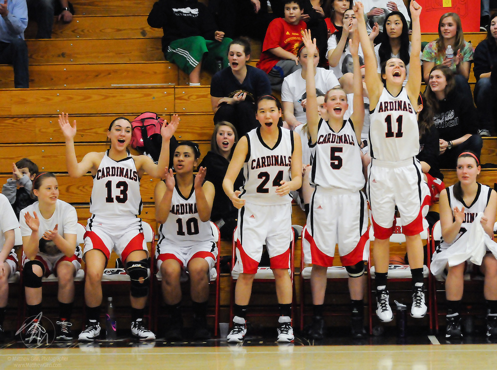 2011/02/11 -- OSAA Basketball: Lincoln vs. Grant -- Lincoln honors seniors Arielle Akanbi and Katherine Levinson with a 71-31 win over Grant Feb. 11, in the Cardinals' last home game of the regular season. With the win, Lincoln improves their record to 14-8. They play one more game at Grant next week before the playoffs begin. (Photo by Matthew Ginn © 2011)