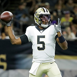 Aug 9, 2019; New Orleans, LA, USA; New Orleans Saints quarterback Teddy Bridgewater (5) throws against the Minnesota Vikings during the second quarter at the Mercedes-Benz Superdome. Mandatory Credit: Derick E. Hingle-USA TODAY Sports