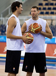 Jurica Golemac, Goran Jagodnik  of Slovenia during the practice session, on September 12, 2009 in Arena Lodz, Hala Sportowa, Lodz, Poland.  (Photo by Vid Ponikvar / Sportida)