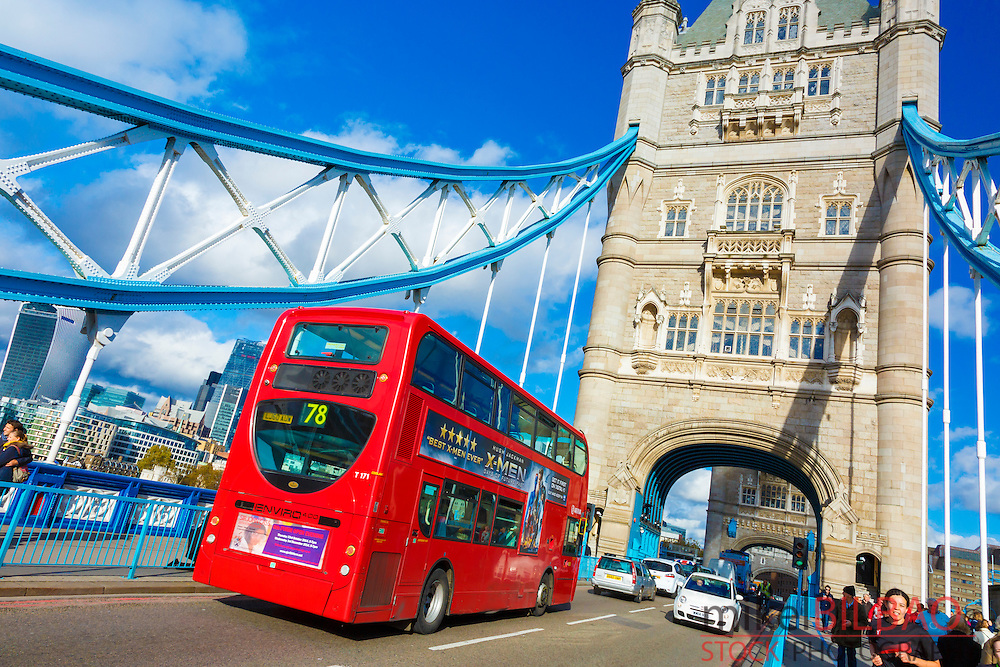 Tower Bridge and traffic. London, United Kingdom, Europe