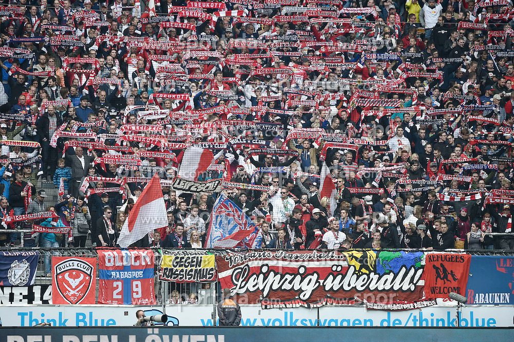 27.09.2015, Allianz Arena, Muenchen, GER, 2. FBL, TSV 1860 Muenchen vs RB Leipzig, 9. Runde, im Bild Fans von RasenBallsport Leipzig e.?V, // during the 2nd German Bundesliga 9th round match between TSV 1860 Munich vs RB Leipzig at the Allianz Arena in Muenchen, Germany on 2015/09/27. EXPA Pictures &copy; 2015, PhotoCredit: EXPA/ Eibner-Pressefoto/ Buthmann<br /> <br /> *****ATTENTION - OUT of GER*****