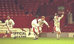 LIVERPOOL, ENGLAND - Tuesday, January 7, 1997: Manchester United's David Brown celebrates scoring against Liverpool during the FA Youth Cup match at Anfield. United won 2-1. (Pic by David Rawcliffe/Propaganda)