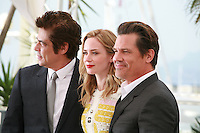 Actor Benicio Del Toro, Actress Emily Blunt and Actor Josh Brolin at the Sicario film photo call at the 68th Cannes Film Festival Tuesday May 19th 2015, Cannes, France.