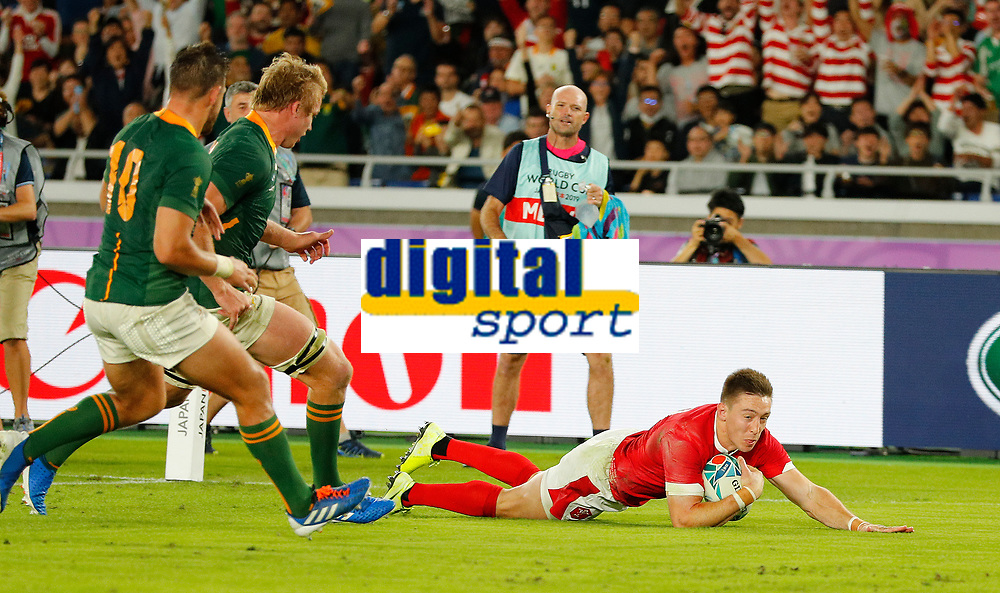Rugby Union - 2019 Rugby World Cup - Semi-Final: Wales vs. South Africa<br /> <br /> Josh Adams of Wales scores a try at International Stadium Yokohama, Kanagawa Prefecture, Yokohama City.<br /> <br /> COLORSPORT/LYNNE CAMERON