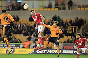 Aden Flint, Nathan Byrne during the Sky Bet Championship match between Wolverhampton Wanderers and Bristol City at Molineux, Wolverhampton, England on 8 March 2016. Photo by Daniel Youngs.