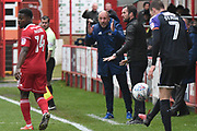 Accrington Stanley manager, John Coleman ands Luton Town Manager, Nathan Jones  during the EFL Sky Bet League 2 match between Accrington Stanley and Luton Town at the Fraser Eagle Stadium, Accrington, England on 7 October 2017. Photo by Mark Pollitt.