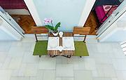 Table set on terrace for breakfast