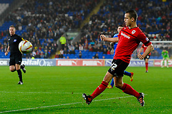 Cardiff Forward Heioar Helguson (ISL) crosses during the second half of the match - Photo mandatory by-line: Rogan Thomson/JMP - Tel: Mobile: 07966 386802 23/10/2012 - SPORT - FOOTBALL - Cardiff City Stadium - Cardiff. Cardiff City v Watford - Football League Championship