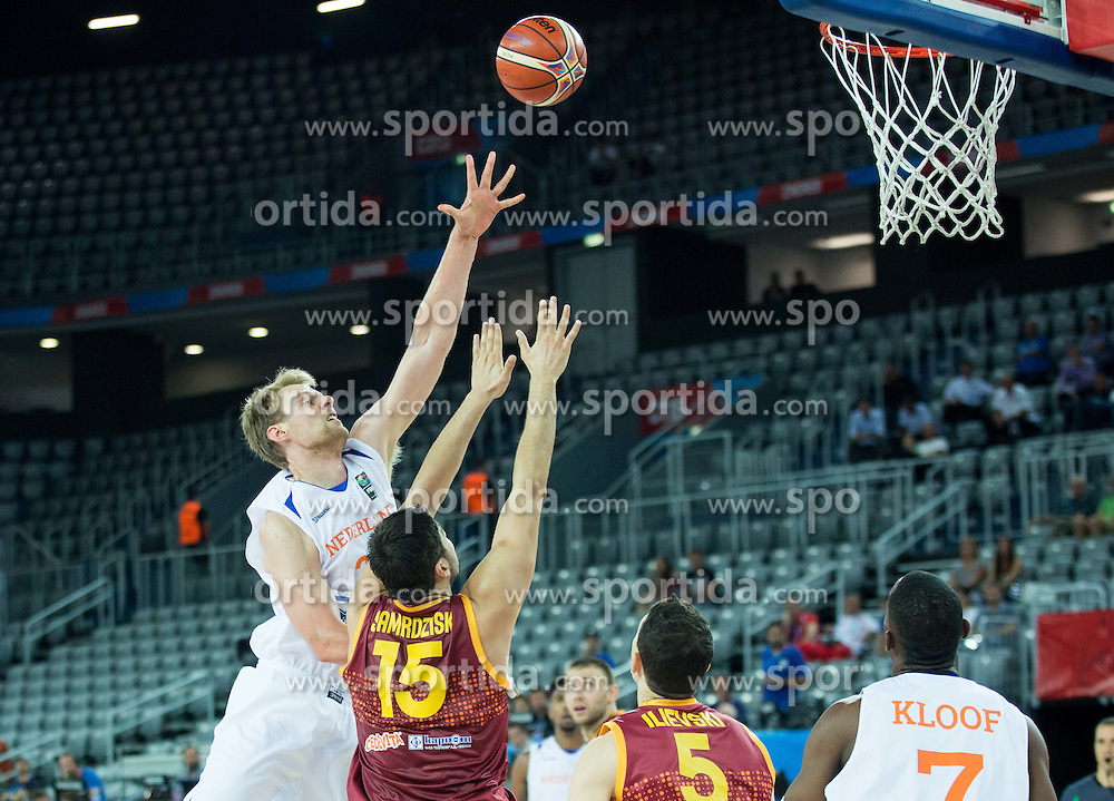 Henk Norel of Netherlands vs Predrag Samardziski of Macedonia during basketball match between Netherlands and Macedonia at Day 2 in Group C of FIBA Europe Eurobasket 2015, on September 6, 2015, in Arena Zagreb, Croatia. Photo by Vid Ponikvar / Sportida