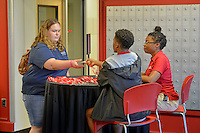 New student orientation check-in at Lee Residence Hall.