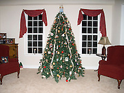 Christmas tree; decorated; lights; between 2 windows with candles; holiday; winter