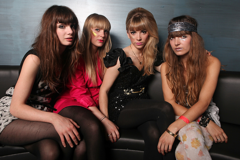 NEW YORK - JUNE 23:  (L to R) Louise Basilien, Anais, Katty Besnard and Marnie Neuilly of The Plasticines pose for a portrait before their performance at the Nylon Summer Music Tour at Highline Ballroom on June 23, 2009 in New York City.  (Photo by Roger Kisby/Getty Images)