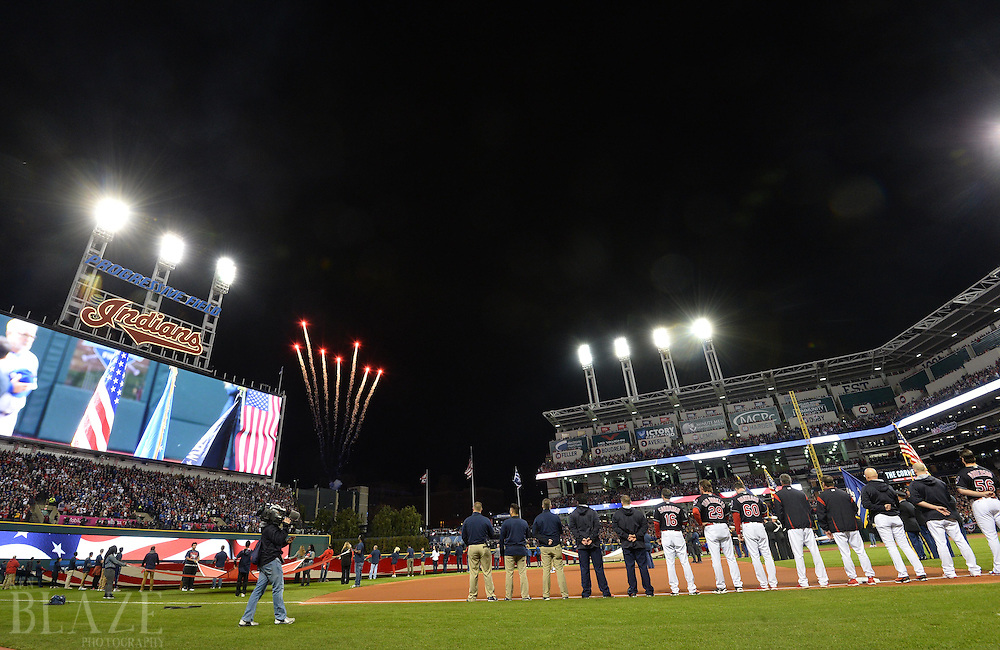 Oct 25, 2016; Cleveland, OH, USA; A general view as the teams line up for the national anthem before game one of the 2016 World Series between the Chicago Cubs and the Cleveland Indians at Progressive Field. Mandatory Credit: Ken Blaze-USA TODAY Sports