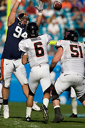 Texas Tech quarterback Graham Harrell (6) gets a pass off around Virginia NT Allen Billyk (94).  The Texas Tech Red Raiders defeated the Virginia Cavaliers 31-28 in the 2008 Konica Menolta Gator Bowl held at the Jacksonville Municipal Stadium in Jacksonville, FL on January 1, 2008.