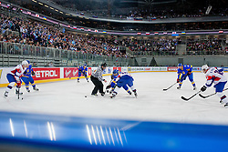 Face-off during ice-hockey match between Slovenia and Ukraine at IIHF World Championship DIV. I Group A Slovenia 2012, on April 19, 2012 at SRC Stozice, Ljubljana, Slovenia. (Photo By Matic Klansek Velej / Sportida.com)