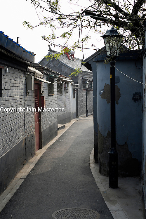 View along traditional historic old lane or hutong in beijing China