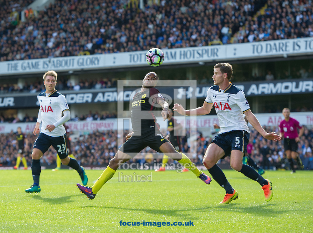Raheem Sterling of Manchester City with Jan Vertonghen of Tottenham Hotspur during the Premier League match at White Hart Lane, London<br /> Picture by Alan Stanford/Focus Images Ltd +44 7915 056117<br /> 02/10/2016