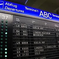Departures board at the Frankfurt International Airport, Germany.