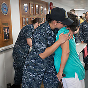 WEDNESDAY, OCTOBER 4- 2017--- - SAN JUAN, PUERTO RICO - <br /> E6 Johana Belen Ridgley gets a hug from a Puerto Rican woman who was leaving after medical treatment aboard the US Naval Hospital Ship Comfort at the Port of San Juan where it started treating patients affected by Hurricane Maria.<br /> (Photo by Angel Valentin for NPR)