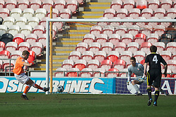 BLACKPOOL, ENGLAND - Wednesday, March 3, 2011: Blackpool's Malaury Martin scores the opening goal past Liverpool's goalkeeper Martin Hansen from the penalty spot during the FA Premiership Reserves League (Northern Division) match at Bloomfield Road. (Photo by David Rawcliffe/Propaganda)