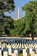 The Washington Monument seen from Arlington National Cemetery in Virginia