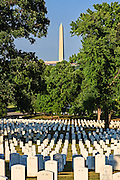 The Washington Monument seen from Arlington National Cemetery in Virginia
