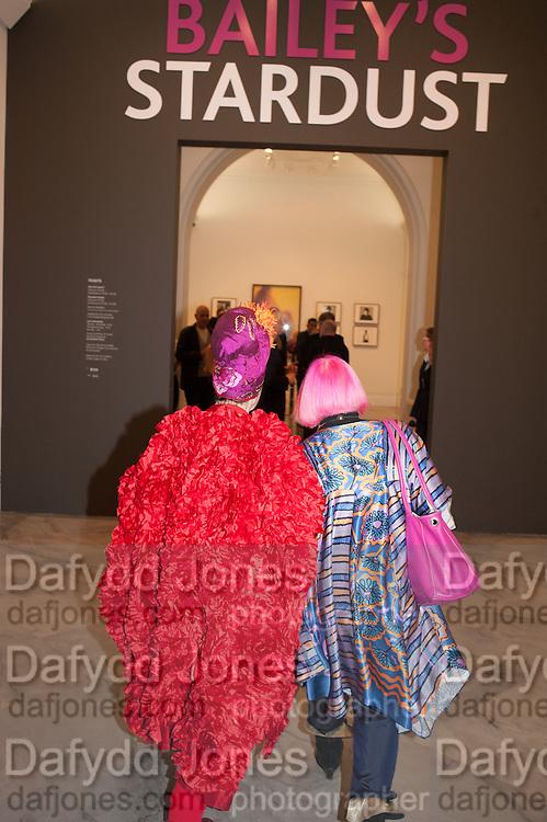 ZANDRA RHODES; MOLLY PARKIN, Opening of Bailey's Stardust - Exhibition - National Portrait Gallery London. 3 February 2014