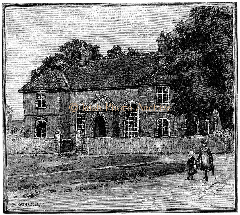 School House, Fishponds, Bristol, birthplace of Hannah More (1745-1833). English religious writer and playwright and member of the Blue Stocking circle of Learned intelligent  women. Engraving c1880.