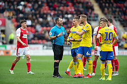 January 26, 2019 - Rotherham, England, United Kingdom - Leeds United players argue with referee, Tim Robinson, during the Sky Bet Championship match between Rotherham United and Leeds United at the New York Stadium, Rotherham, England, UK, on Saturday 26th January 2019. (Credit Image: © Mark Fletcher/NurPhoto via ZUMA Press)
