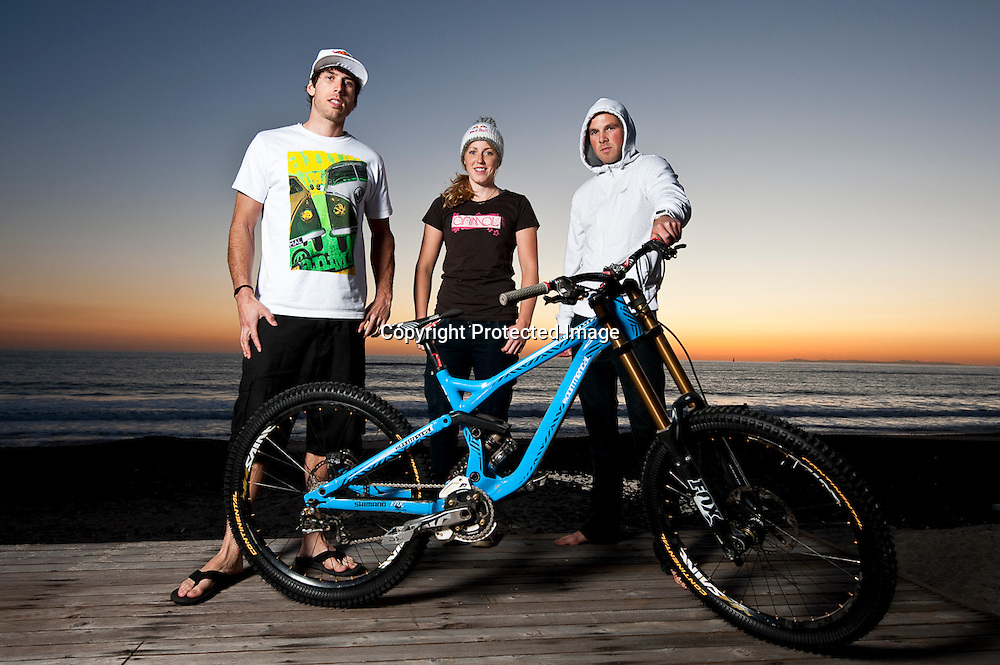 The Atherton clan including Gee, Rachel and Dan pose with their Commencal mountain bike in Dana Point, California.