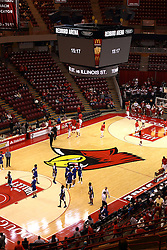 22 December 2015: A view of Doug Collins Court inside Redbird Arena from the North west end complete with the new scoreboard.  Illinois State Redbirds host the Tennessee State Tigers at Redbird Arena in Normal Illinois (Photo by Alan Look)