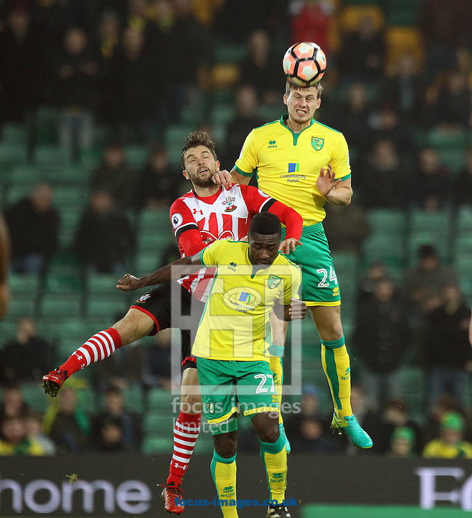 Ryan Bennett of Norwich wins a header during the third round of the FA Cup at Carrow Road, Norwich<br /> Picture by Paul Chesterton/Focus Images Ltd +44 7904 640267<br /> 07/01/2017
