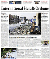 IHT fornt page on my NYT story.<br /> <br /> Prashanth Vishwanathan/NYT