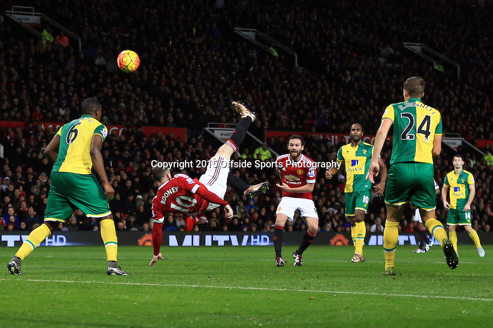 16 December 2015 - Barclays Premier League - Manchester United v Norwich City - Wayne Rooney of Manchester United attempts an overhead kick - Photo: Marc Atkins / Offside.