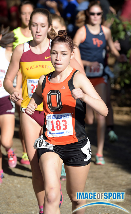 Nov 14, 2015; Claremont, CA, USA; Natalie Gradwohl of Occidental runs in the womens race during the 2015 NCAA Division III West Regionals cross country championships at Pomona-Pitzer College.