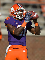 November 21, 2009; Clemson, SC, USA; Clemson Tigers wide receiver Jaron Brown (81) before the game against the Virginia Cavaliers at Memorial Stadium.  Clemson defeated Virginia 34-21.