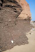 Rapidly eroding boulder clay cliffs on the Holderness coast, Mappleton, Yorkshire, England