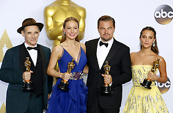 Mark Rylance, Alicia Vikander, Brie Larson and Leonardo DiCaprio at the 88th Annual Academy Awards - Press Room held at the Loews Hollywood Hotel in Hollywood, USA on February 28, 2016. EXPA Pictures © 2016, PhotoCredit: EXPA/ Photoshot/ Lumeimages.com<br />
