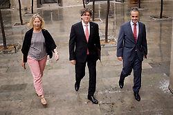 June 9, 2017 - Barcelona, Catalonia, Spain - Catalan regional president CARLES PUIGDEMONT (center) arrives for a government meeting  at the Palau de La Generalitat in Barcelona. The government of Catalonia has announced that will held out a referendum on independence the next first of October. (Credit Image: © Jordi Boixareu via ZUMA Wire)