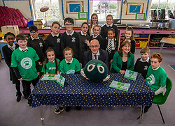 Pictured: John Swinney, Maree Todd and primary 7 stuedent fropm Royal High Primary School<br /><br />Deputy First Minister John Swinney and minister for children and young people Maree Todd, joined students from Primary 7 of the Royal High Primary School in Edinburgh today at attend child safety assembly. <br /><br />Ger Harley | EEm 9 May 2019