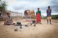 This primitive village of Lavanono, on the south coast of Madagascar has no running water or electricity.  Meat is kept in these carts.  People live on the sand and mud and open their hearts to us.