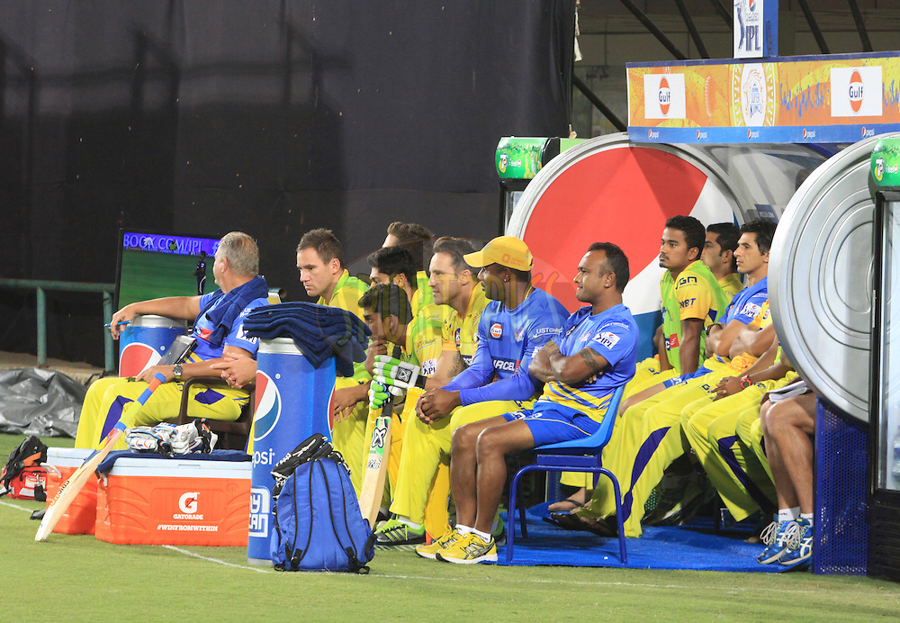 CSK players in dugout during match 21 of the Pepsi Indian Premier League Season 2014 between the Chennai Superkings and the Kolkata Knight Riders  held at the JSCA International Cricket Stadium, Ranch, India on the 2nd May  2014<br /> <br /> Photo by Arjun Panwar / IPL / SPORTZPICS<br /> <br /> <br /> <br /> Image use subject to terms and conditions which can be found here:  http://sportzpics.photoshelter.com/gallery/Pepsi-IPL-Image-terms-and-conditions/G00004VW1IVJ.gB0/C0000TScjhBM6ikg
