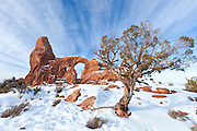 Turret Arch in winter, Arches National Park