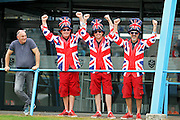 British fans in union jack clothing at the BSB Championship at the TT Circuit,  Assen, Netherlands on 1 October 2016. Photo by Nigel Cole.
