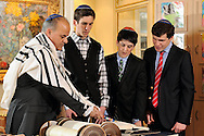 An intimate home Bar Mitzvah service in Greenwich, Connecticut.