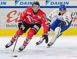 12.04.2018, Tiroler Wasserkraft Arena, Innsbruck, AUT, Eishockey Testspiel, Österreich vs Italien, während dem Eishockey Testspiel Österreich vs Italien am Donnerstag, 12. April 2018 in Innsbruck, im Bild v.l.: Ramon Schnetzer (AUT) und Riccardo Lacedelli (ITA) // during the International Icehockey Friendly match between Austria and Italy at the Tiroler Wasserkraft Arena in Innsbruck, Austria on 2018/04/12. EXPA Pictures © 2018, PhotoCredit: EXPA/ Jakob Gruber