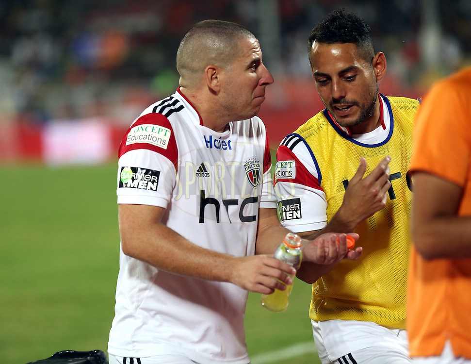 Sergio Contreras Pardo of NorthEast United FC during match 20 of the Hero Indian Super League between FC Pune City and NorthEast United FC held at the Shree Shiv Chhatrapati Sports Complex Stadium, Pune, India on the 3rd November 2014.<br /> <br /> Photo by:  Sandeep Shetty/ ISL/ SPORTZPICS