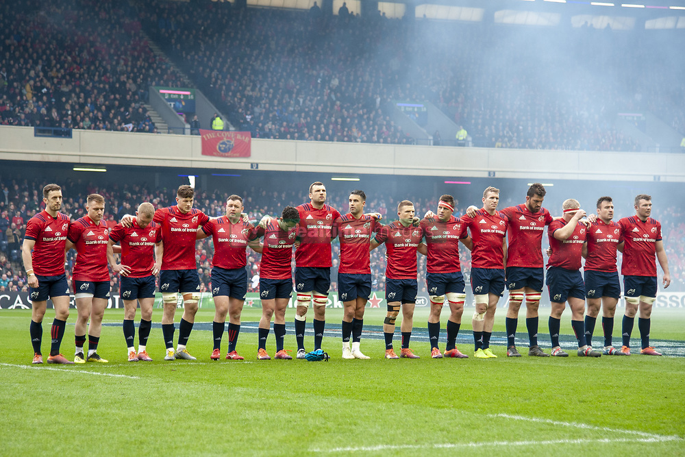 March 30, 2019 - Edinburgh, Scotland, United Kingdom - The Munster Rugby team pictured during a minutes of silence during the Heineken Champions Cup Quarter Final match between Edinburgh Rugby and Munster Rugby at Murrayfield Stadium in Edinburgh, Scotland, United Kingdom on March 30, 2019  (Credit Image: © Andrew Surma/NurPhoto via ZUMA Press)